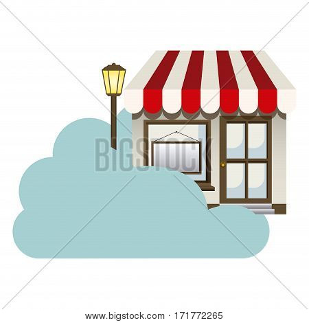 cloud in cumulus shape with store with lamp vector illustration