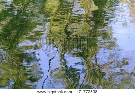 Texture of rippled green water surface with highlights and reflections