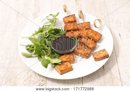 fried tofu with soy sauce and sesam