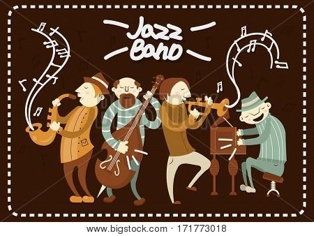 Jazz band playing live music concert on stage. Vector musical instruments saxophone, piano and contrabass. Art style men characters