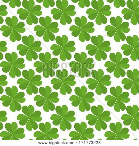 Seamless texture with flat lucky four-leaf clover on a white background. Vector pattern for your creativity