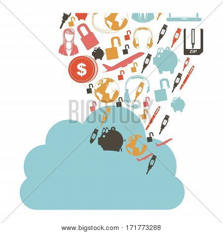 cloud in cumulus shape with set collection investment and tech vector illustration