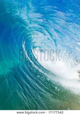 Beautiful Blue Ocean Wave, View inside the Barrel
