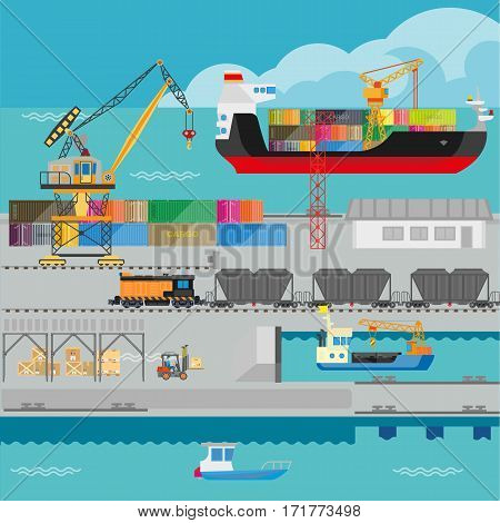 Logistics in port infographics template. Flat illustration of seaport marine shipment process and management by ship cargo