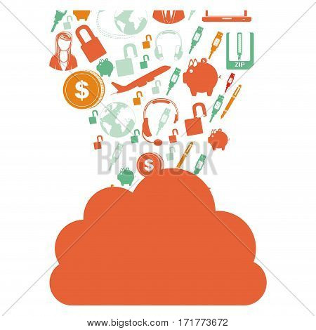 orange cloud in cumulus shape with set collection investment and tech vector illustration