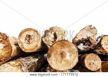 Felled trunks of trees stacked in winter on isolated white background. Stacks of sawn woods, industrial logging of pine trees. Nature is used by people.