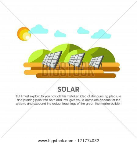 Solar power plant vector flat illustration. Electricity energy station or powerhouse operating by sunlight panel and sun light photovoltaics for electric generation industry