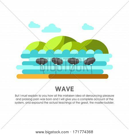 Wave power station vector flat illustration. Electricity energy plant or powerhouse operating by sea or ocean water wind waves for electric generation industry