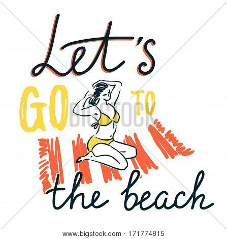Girl sunbathing on a beach mat on the sea and comb the hair, summer vacation concept. Vector illustration with stylish lettering
