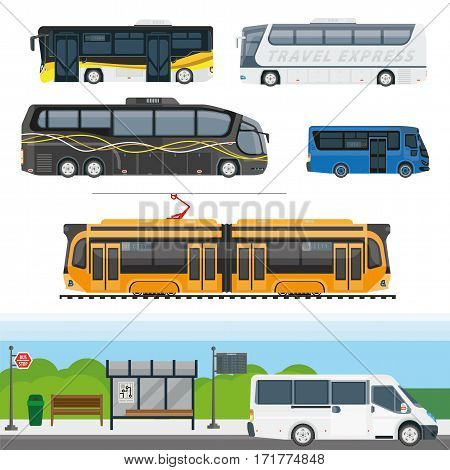 Passenger public transport and travel transportation vehicles vector icons. Isolated city bus on stop station, tram, intercity tourist trip coach, and express van