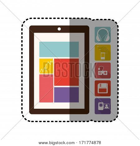 sticker colorful tech table and icon apps vector illustration