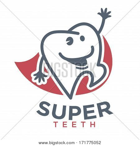 Cartoon tooth logo template for child dentistry or dental toothpaste product label tag. Happy teeth smiling character in super hero cape