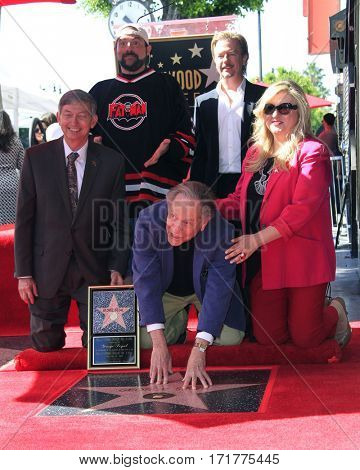 LOS ANGELES - FEB 14:  Kevin Smith, David Spade, Leron Gubler, George Segal, Fariba Kalantari at the George Segal Star Ceremony at the Hollywood Walk of Fame on February 14, 2017 in Los Angeles, CA