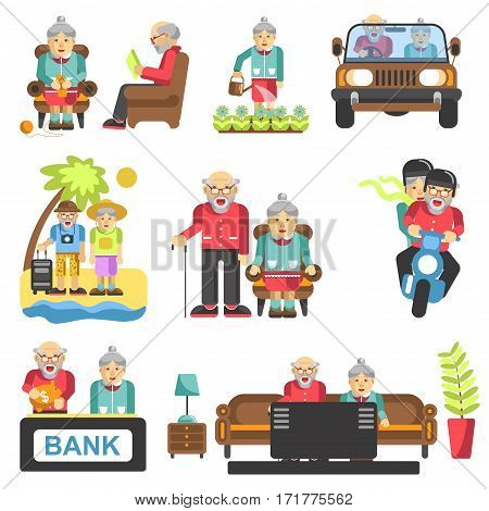 Older people life style vector flat icons and life adventure and pleasure enjoyment. Grandfather and grandmother couple on travel, at home and garden