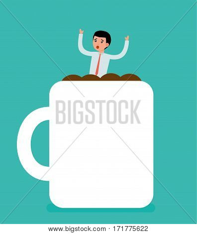 Businessman drowning in a Cup of coffee. Business Concept illustration. Cartoon flat vector illustration