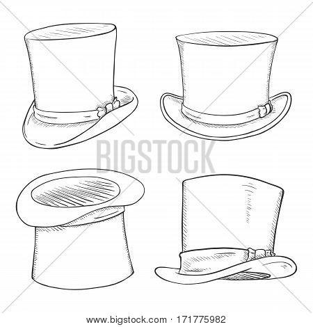 Vector Set Of Sketch Cylinder Hats