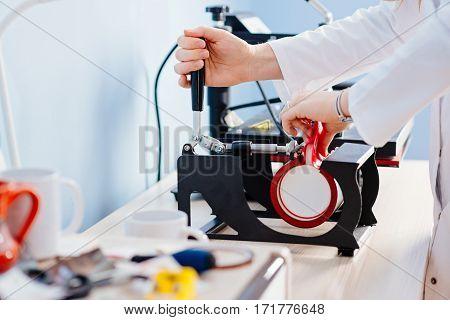 Woman Making Thermal Transfer Print