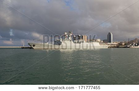 NOVOROSSIYSK, RUSSIA, MAY 9, 2015.Missile frigates naval forces of the Republic of China