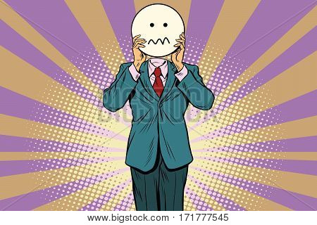 nervous skepticism Man smiley Emoji face. Vintage pop art retro comic book vector illustration