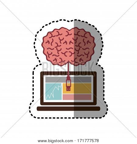 sticker laptop and usb connected to brain vector illustration