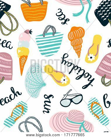 Summer seamless pattern with beach accessories isolated on the white background. Vector hand drawn illustration with stylish lettering.