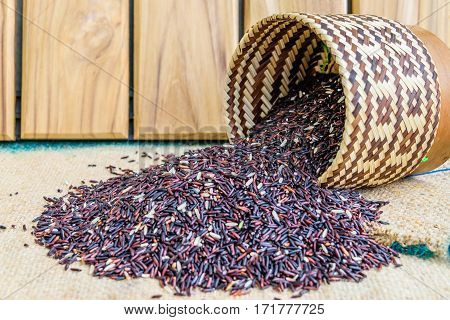 Hom Nil (black jasmine rice) in kratip on wood background