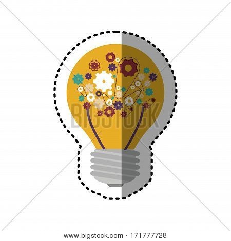 sticker light bulb with filaments and gear wheel collection vector illustration