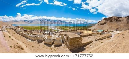 Ladakh Tso Moriri Lake Panoramic View Korzok Stupa