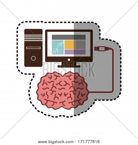 sticker computer desktop and usb connected to brain vector illustration