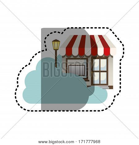 sticker cloud in cumulus shape with store with lamp vector illustration