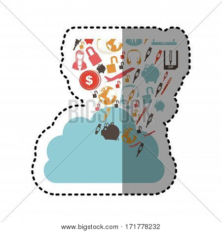 sticker cloud in cumulus shape with set collection investment and tech vector illustration