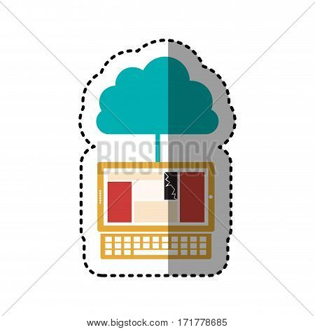 sticker cloud in cumulus shape connected to laptop vector illustration