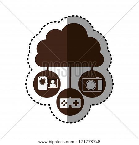 sticker brown cloud in cumulus shape connected to tech device vector illustration