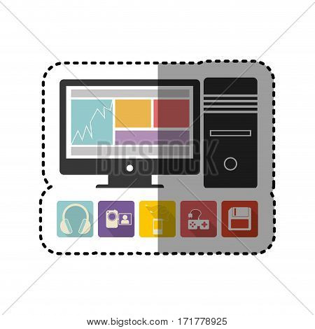 sticker colorful desktop computer with icon apps vector illustration