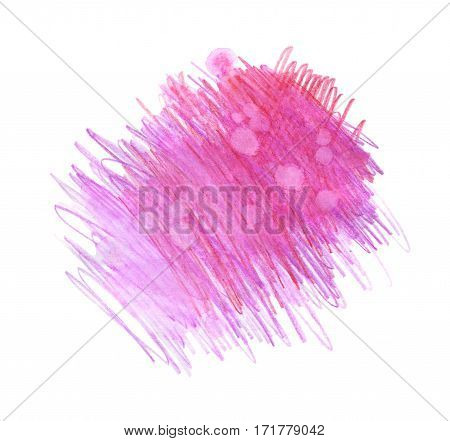 Hatching colored pencils. Abstract pink spot texture gradient. On a white background