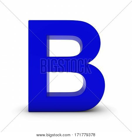 Blue Letter B Isolated On White With Shadows 3D Illustration