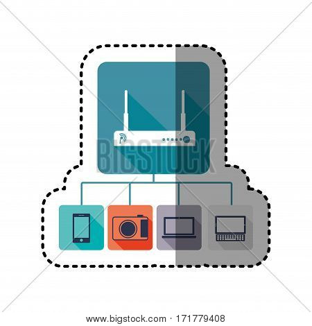 sticker colorful tech router icon stock vector illustration