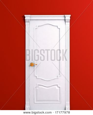 door wooden white house interior detail on the red wall 3d model illustration