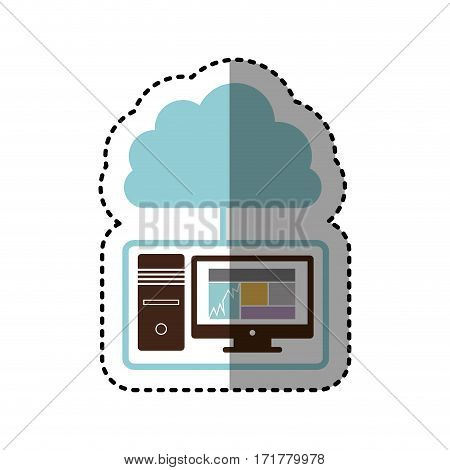 sticker tech computer with cloud storage server icon stock vector illustration