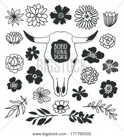 Boho black decorative plants and flowers collection with cow skull. Hand drawn vector design elements isolated on the white background.