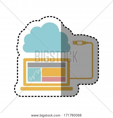 sticker tech laptop with cloud storage icon stock vector illustration
