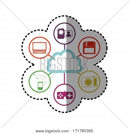 sticker silhouette colorful cloud storage with icon apps vector illustration