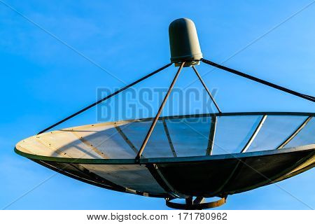 Technology Satellite dish and blue sky background