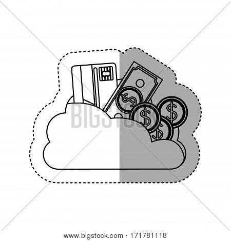 sticker contour cloud in cumulus shape with elements investment vector illustration