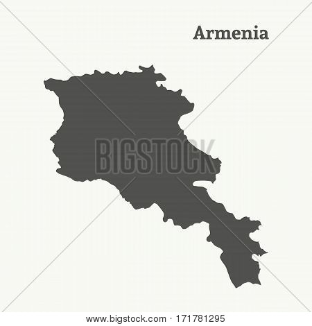 Outline map of Armenia. Isolated vector illustration.
