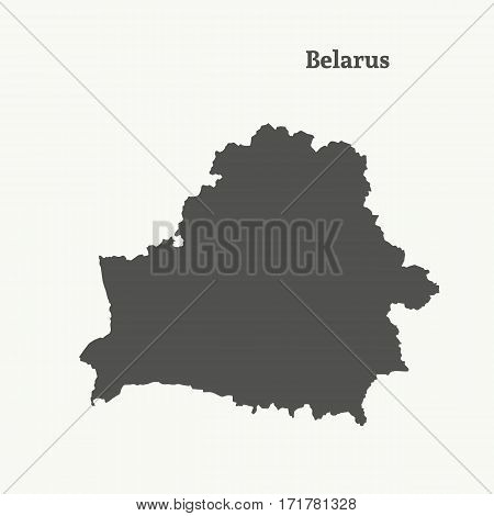 Outline map of Belarus. Isolated vector illustration.