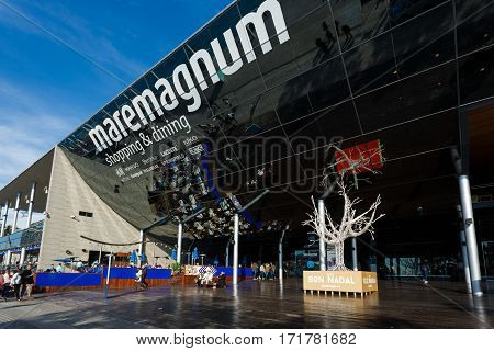 Barcelona Spain - January 08 2017: People visit to the modern building of Comercial Centre Maremagnum at sunny day
