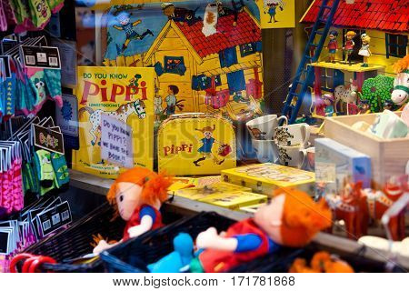 Stockholm, Sweden - July, 2012: Shop with Pippi souvenirs - the famous little girl from Astrid Lindgren books in Stockholm, Sweden