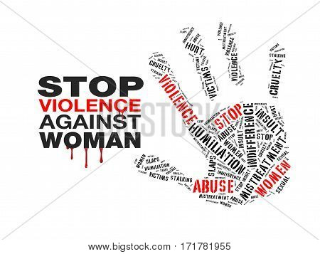 a cloud text indicates to stop violence against women