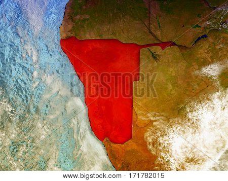 Namibia On Illustrated Globe